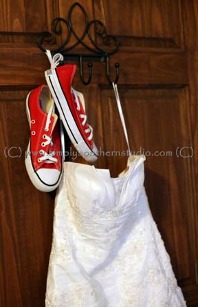Strapless Wedding Dress Woodmill Winery Fall Wedding NC Converse Red Shoes