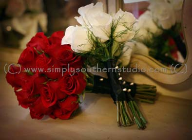 Flowers Red Roses White Roses Wedding Fall Woodmill Winery NC
