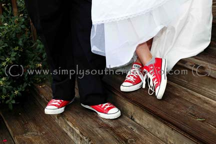 Red Converse Sneakers Wedding Dress Tux NC