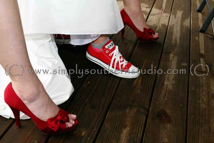 Red Heels Red Sneakers Converse Wedding Dress Bridesmaids NC