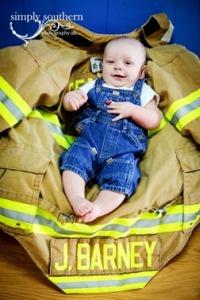 watch me grow kids portraits 6 months firefighter